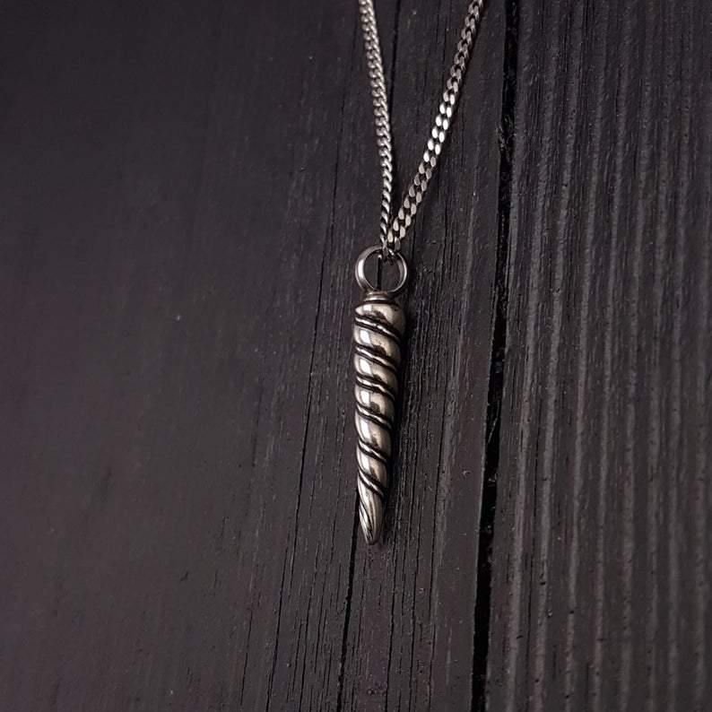 Unicorn Horn Cremation Ash Urn Charm Pendant Necklace Solid Sterling Silver - Moon Raven Designs