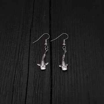 Tiny Whale Shark Earrings - Solid 925 Sterling Silver - Moon Raven Designs