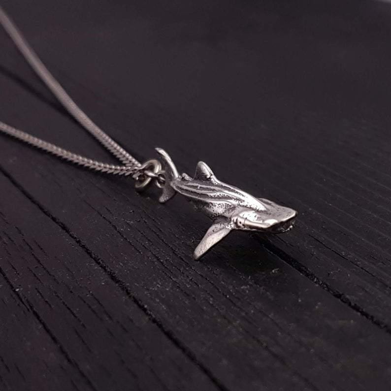 Whale Shark Necklace Solid Sterling Silver - Moon Raven Designs