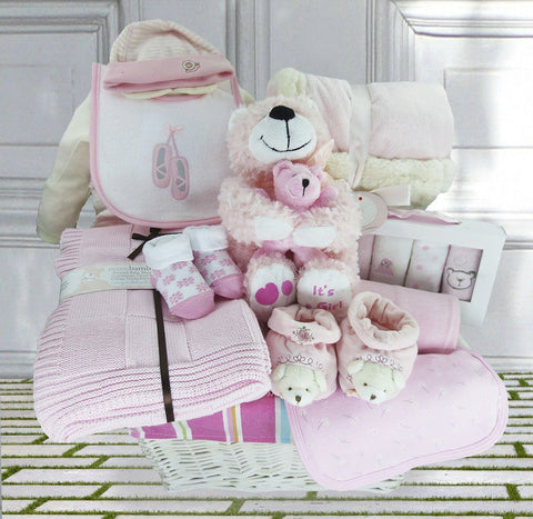 Beverley Bear Baby Girl Gift Basket