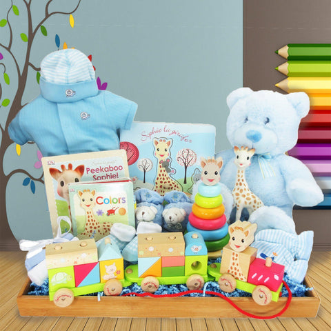 SOPHIE LA GIRAFE IS ON THE MOVE!  BABY BOY GIFT BASKET