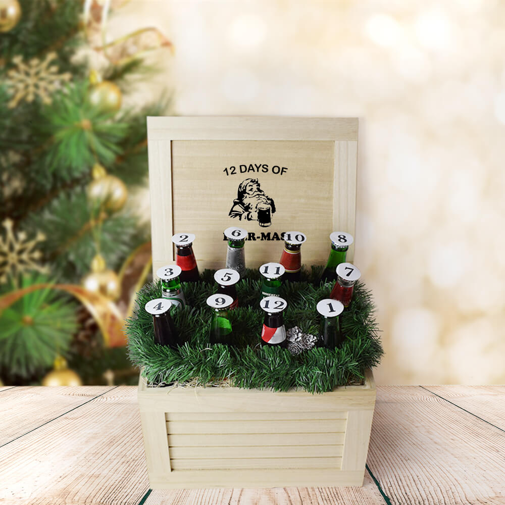12 Days of Beer-Mas Gift Crate, beer gift baskets, Christmas gift baskets, gourmet gift baskets