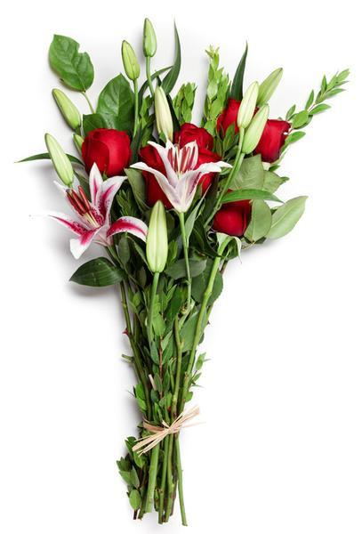 Red Roses, Red and White Lilies Bouquet