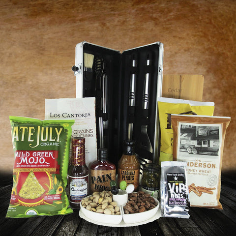 This basket is ideally Father's Day Basket. Gift your father on father day our barbacue gift basket . which holds nuts cips and barbacue set