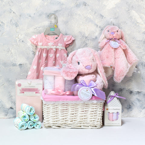The Pink Rabbit Basket, baby gift baskets, baby boy, baby gift, new parent, baby