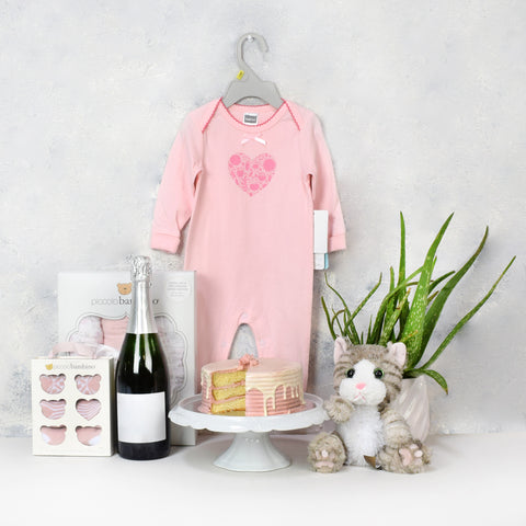 Baby Girl Birthday Starter Basket with Champagne