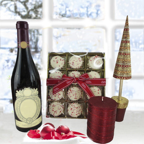 Peppermint Cookies Gift Pack with Wine