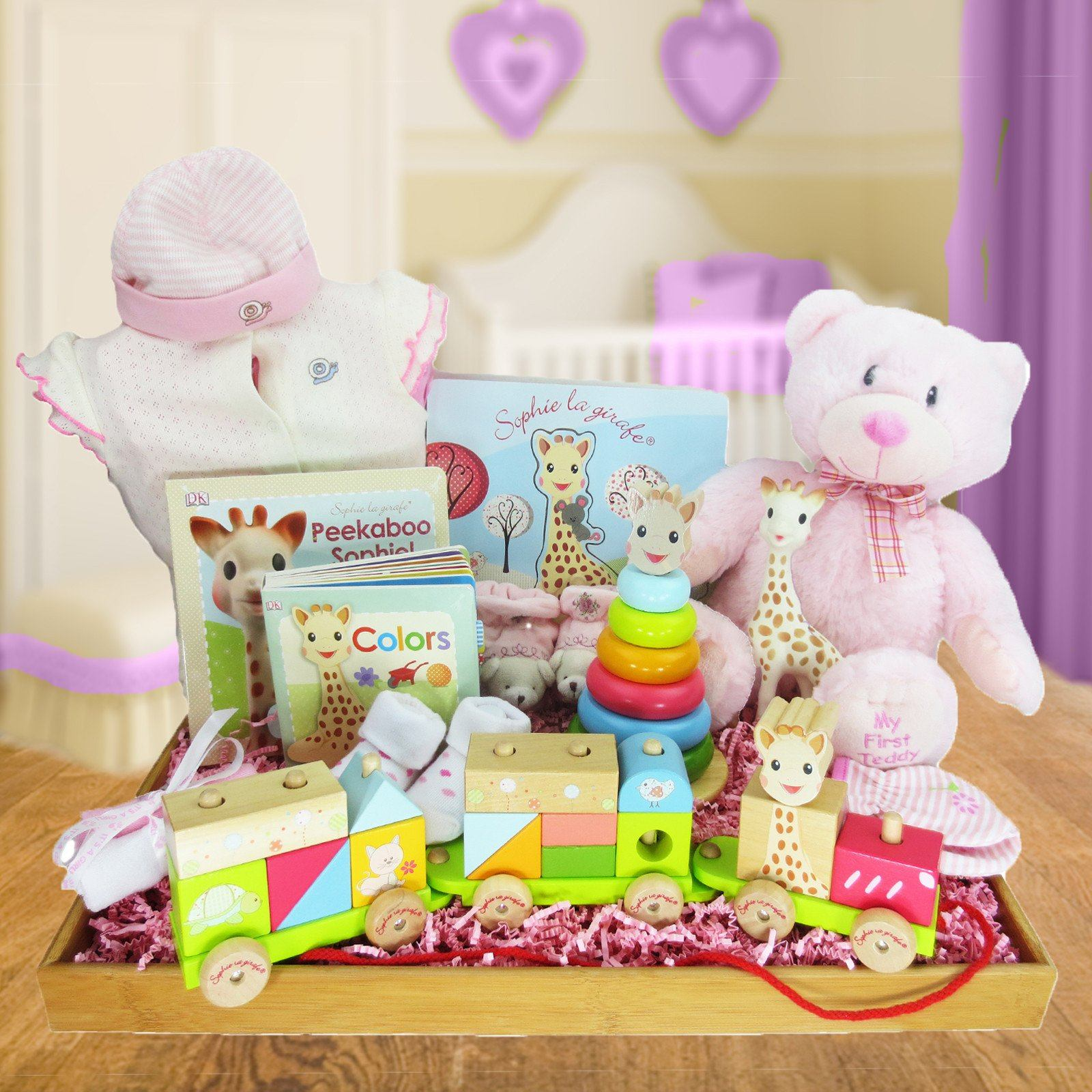 SOPHIE LA GIRAFE IS ON THE MOVE!  BABY GIRL GIFT BASKET