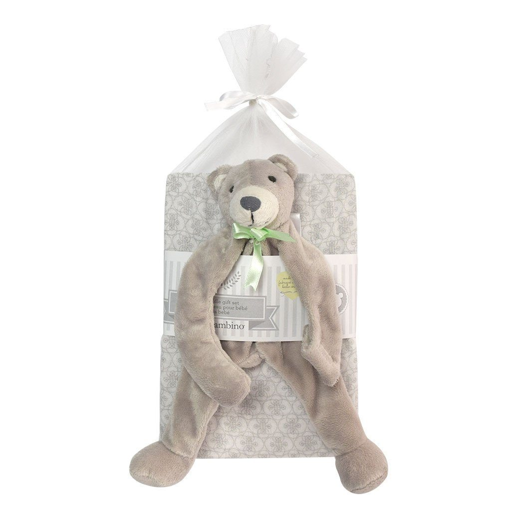 Baby swaddling set with bear pacifier holder