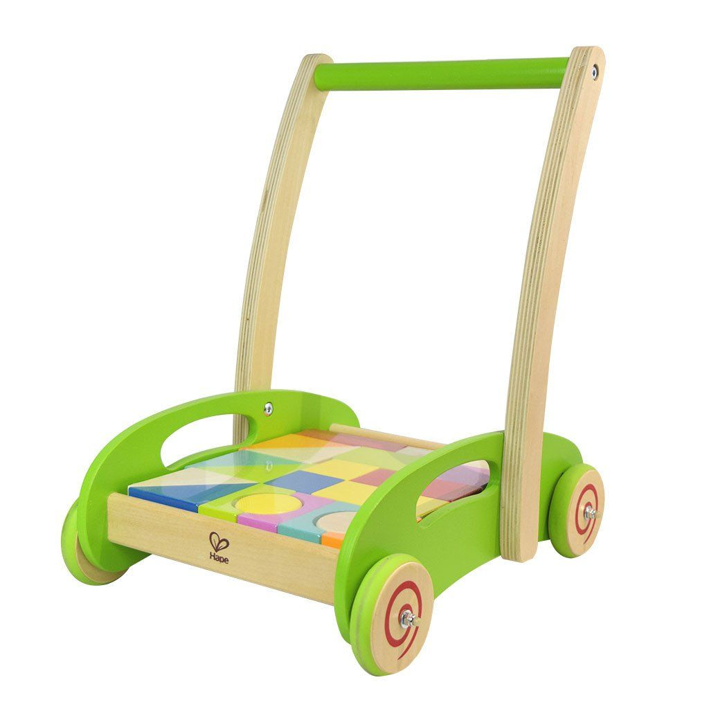 Hape block and roll wooden walker