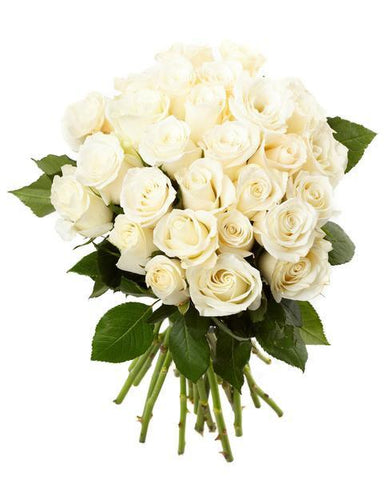 Quiet Reverence White Rose Bouquet