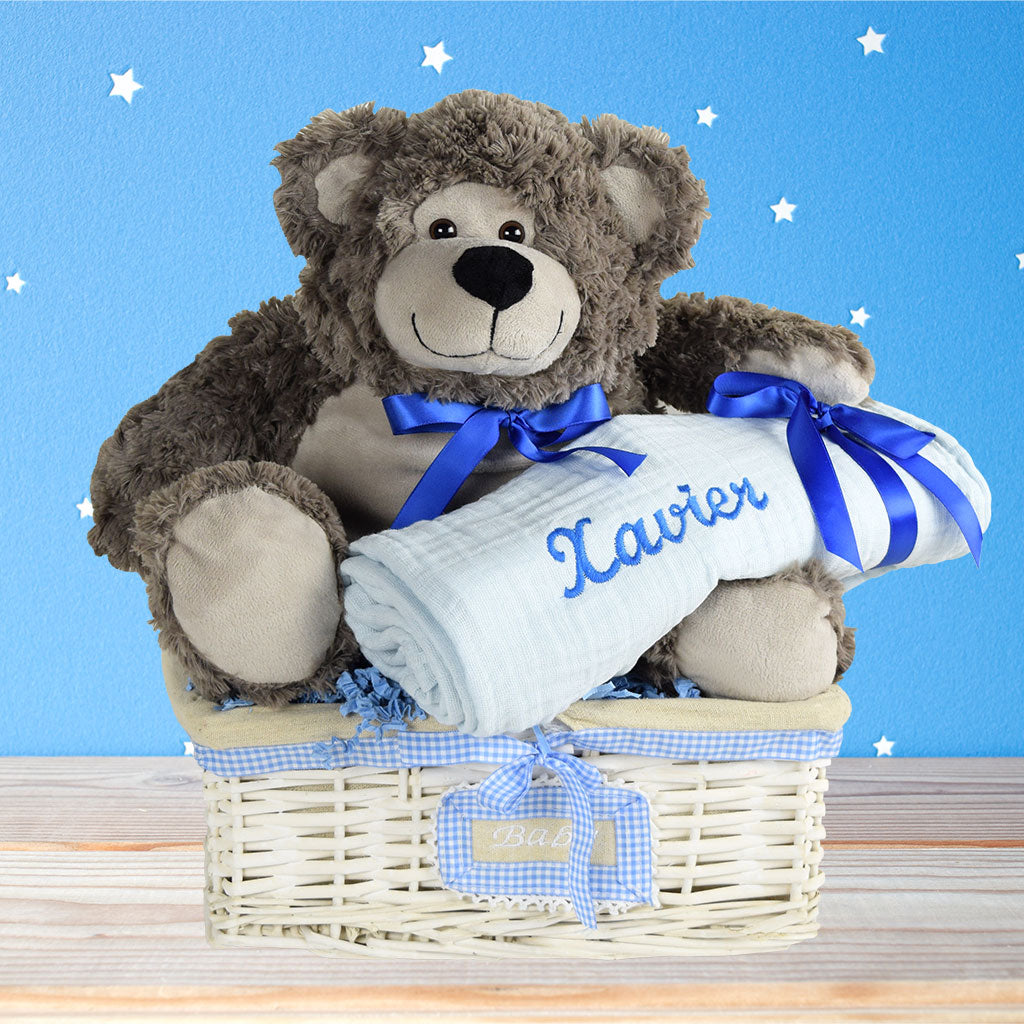 Celebrating A Beautiful Baby Boy Gift Basket