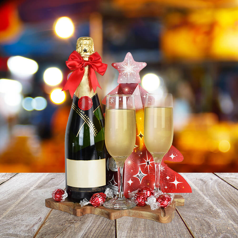 Christmas Champagne & Chocolate Basket, champagne gift baskets, Christmas gift baskets