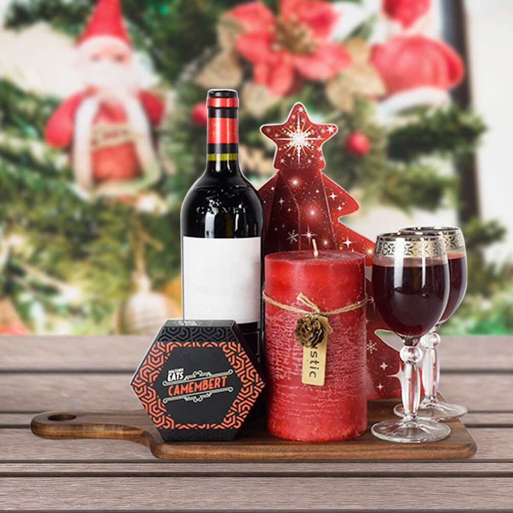 Christmas Wine & Cheese Gift Basket, Christmas gift baskets, wine gift baskets