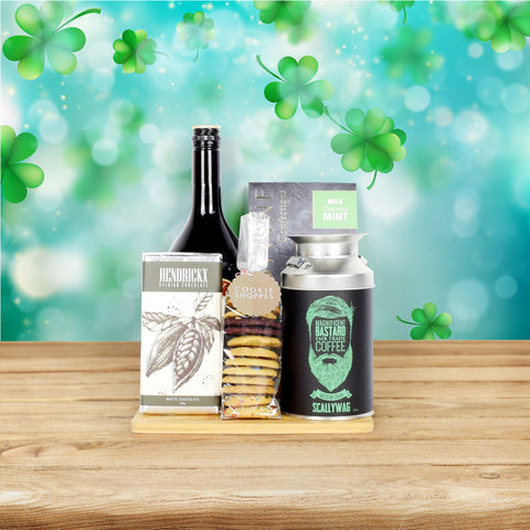 Luck O' The Irish Coffee Gift Basket, liquor gift baskets, gourmet gift baskets, St. Patrick's Day gift baskets