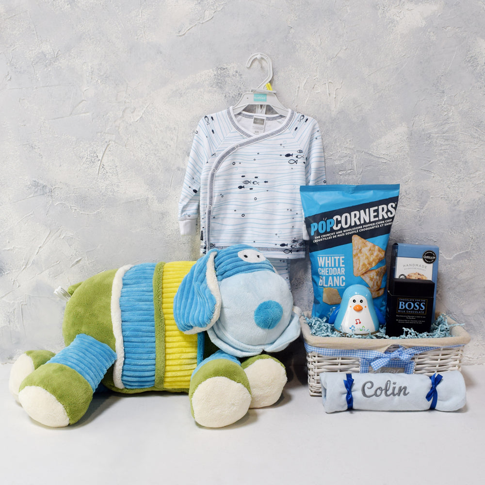 UNISEX INFANT GIFT BASKET, baby gift basket, welcome home baby gifts, new parent gifts