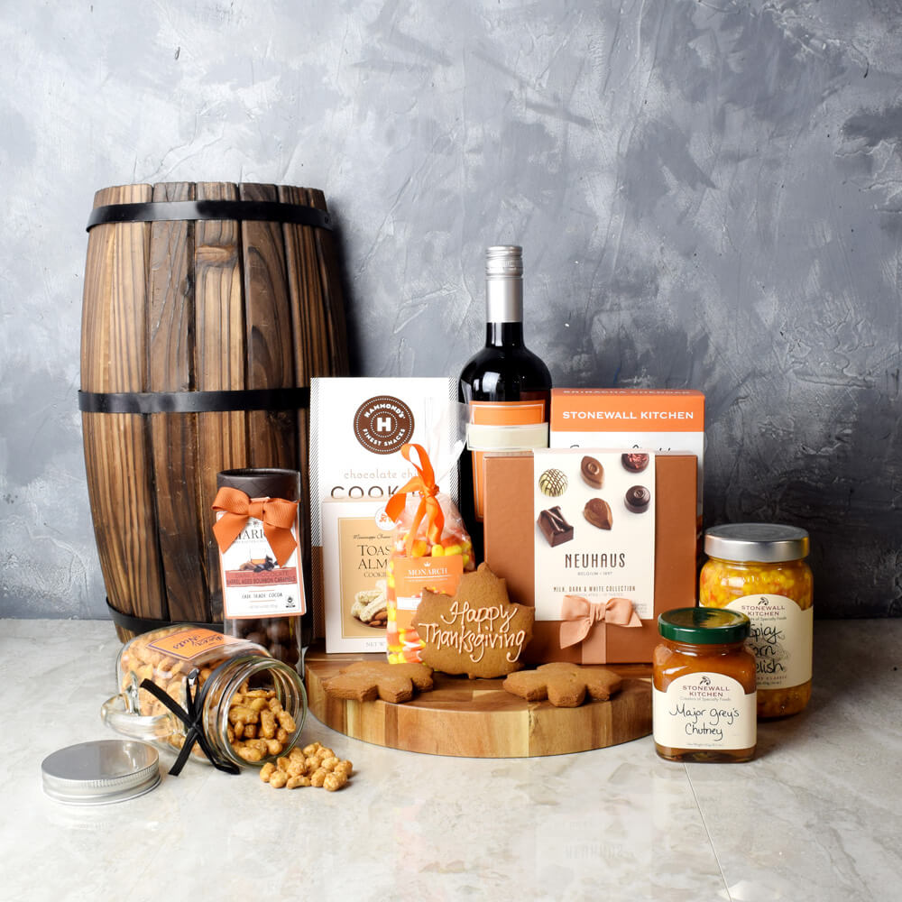 Thanksgiving Wine & Snacks Gift Set, Thanksgiving gift baskets, Thanksgiving gift sets, Canada delivery, USA delivery