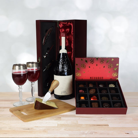 Holiday Wine, Cheese & Chocolate Basket