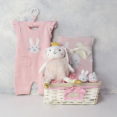 BABY BELLA BUNNY GIFT BASKET, baby girl gift hamper, newborns, new parents