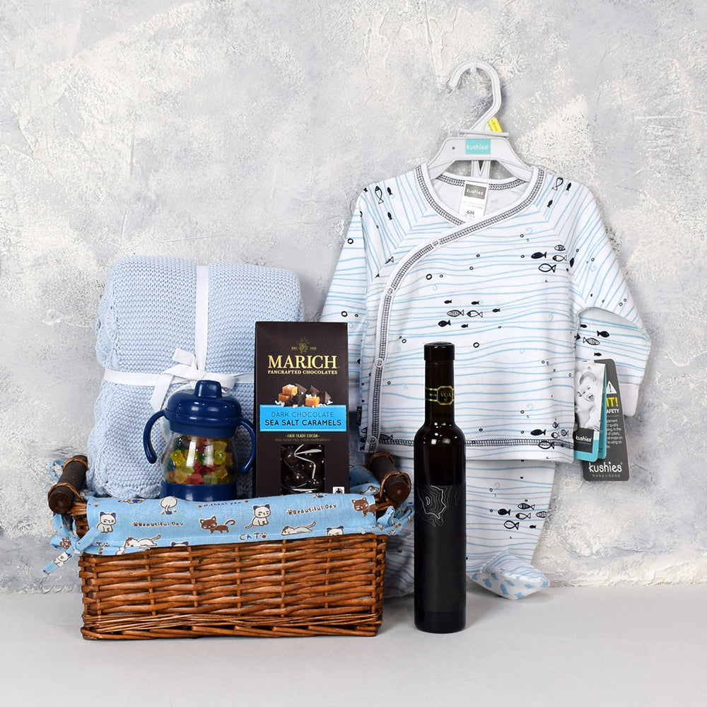 Sweet Baby Boy Basket with Wine