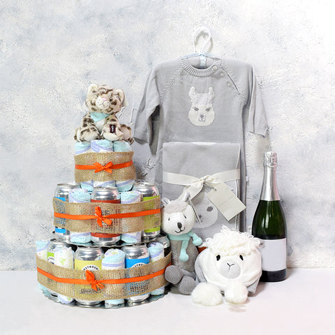 Unisex Elegant Baby Diaper & Celebration Set, Unisex Baby Gifts, Diaper Cakes, Beer Cakes, Champagne Gifts