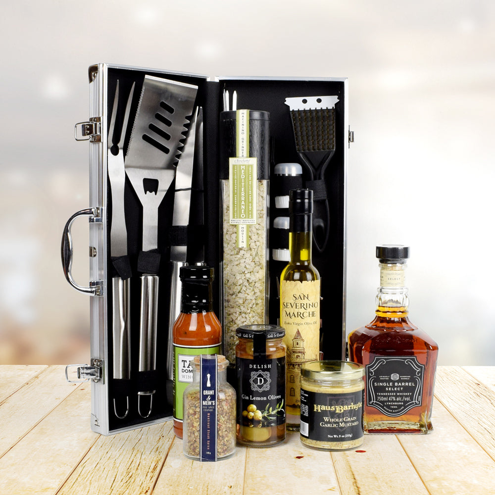 Deluxe Barbeque Tool Gift Basket with Liquor, gift baskets, gourmet gifts, gifts, liquor
