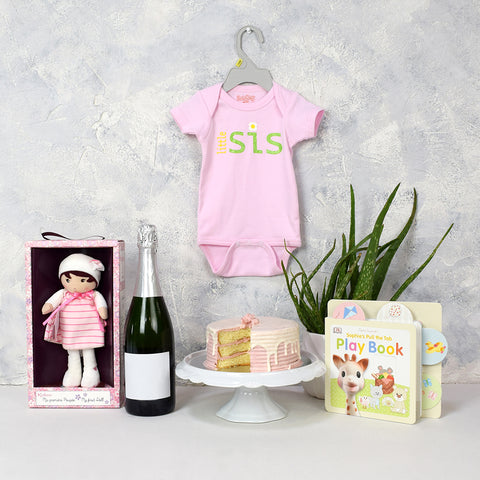 Baby Girl's First Birthday Basket with Champagne