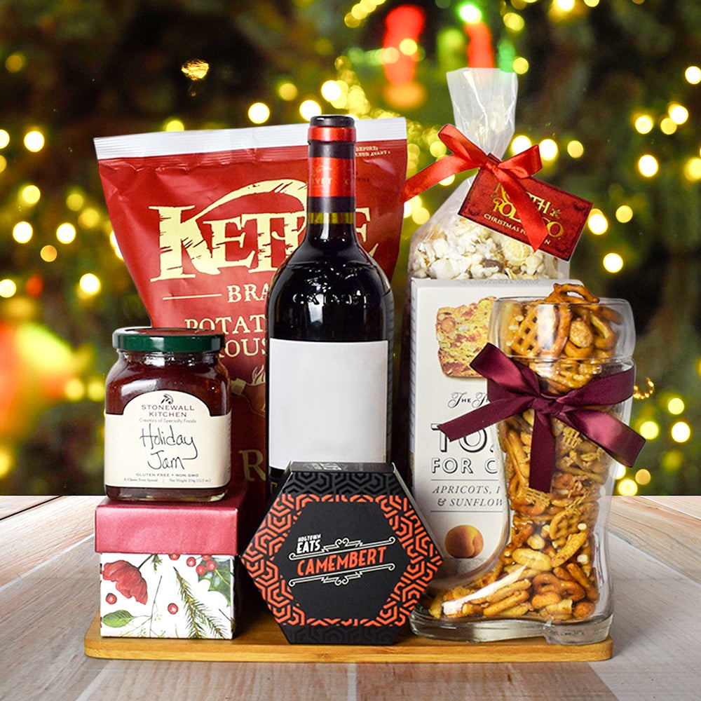 Christmas Wine & Cheese Snack Basket
