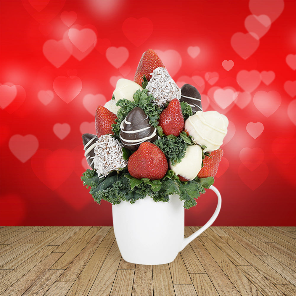 Chocolate Dipped Strawberries in a Ceramic Mug, gourmet gift baskets, gift baskets, Valentine's Day gift baskets, Mother's Day Gift Baskets