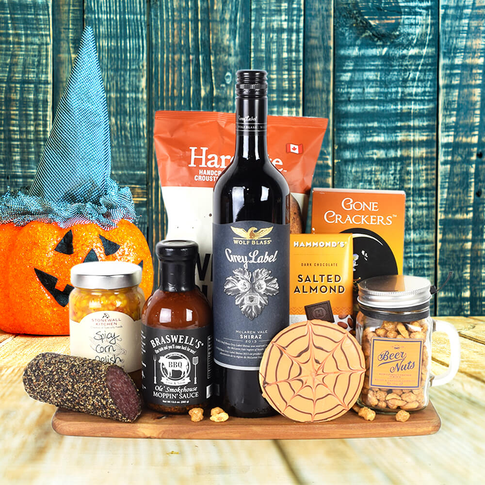 Tricks & Savoury Treats Wine Set, Halloween Snack crate, Halloween gift baskets, Deluxe Halloween Party Crate