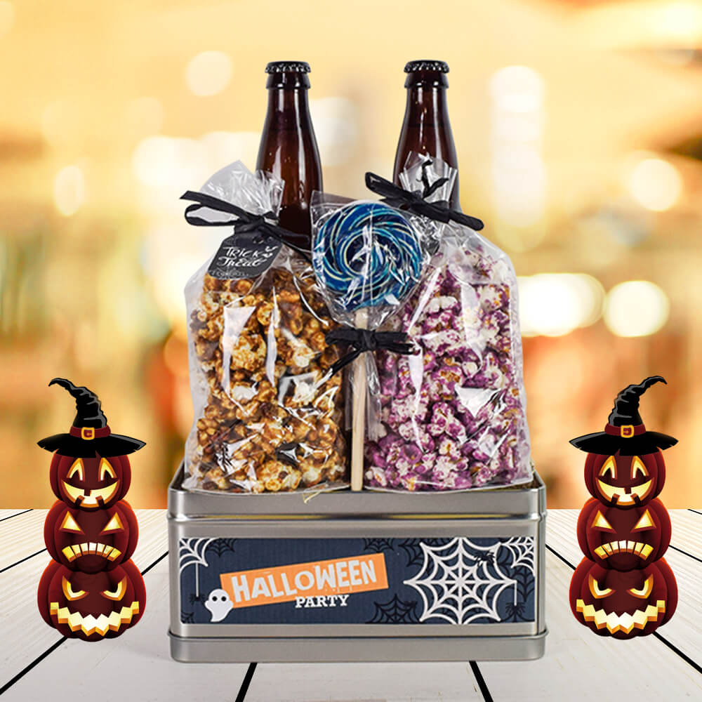 Beer & Popcorn Halloween Party Set, Halloween Snack crate, Halloween gift baskets, Deluxe Halloween Party Crate