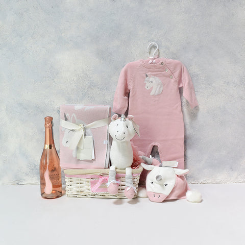 BABY & THE UNICORN GIFT BASKET WITH CHAMPAGNE, baby girl gift basket, welcome home baby gifts, new parent gifts