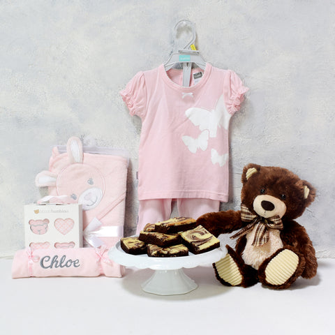 TOBY & THE BABY GIRL GIFT SET, baby girl gift basket, welcome home baby gifts, new parent gifts