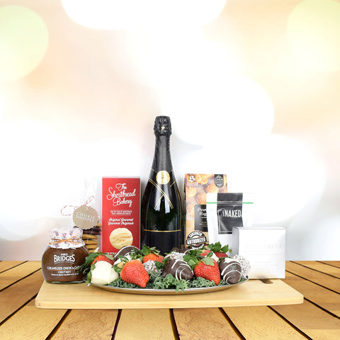 Exclusive Gourmet Champagne Set, champagne gift baskets, Mother's Day gift baskets, gift baskets