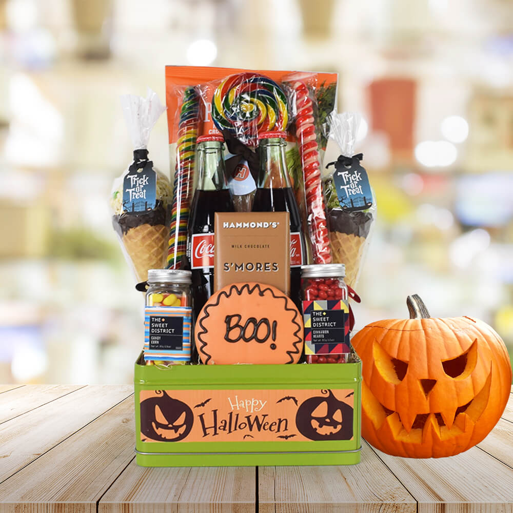 Gourmet Trick or Treat Gift Set, Halloween Snack crate, Halloween gift baskets, Deluxe Halloween Party Crate