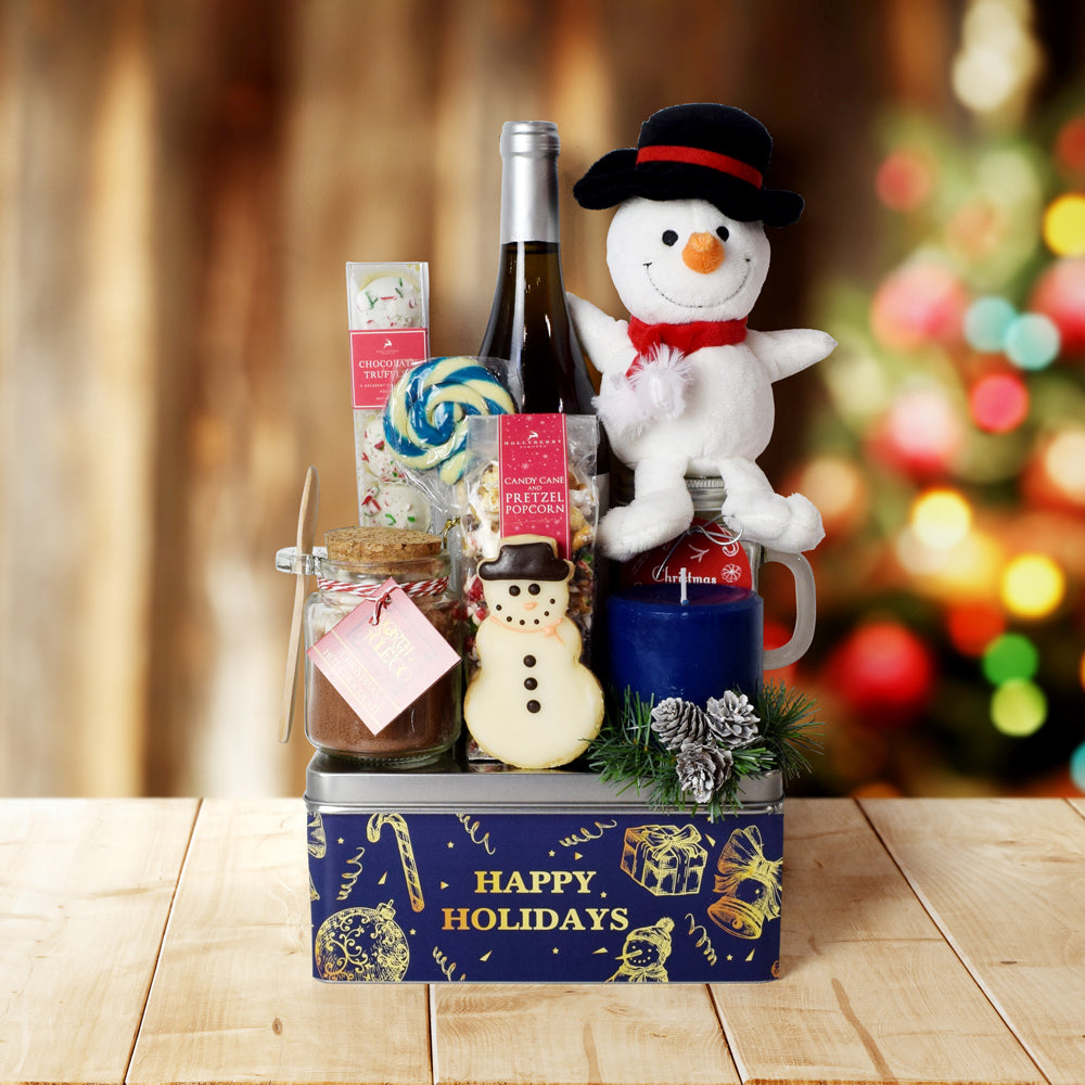 Frosty Wine & Treats Gift Basket