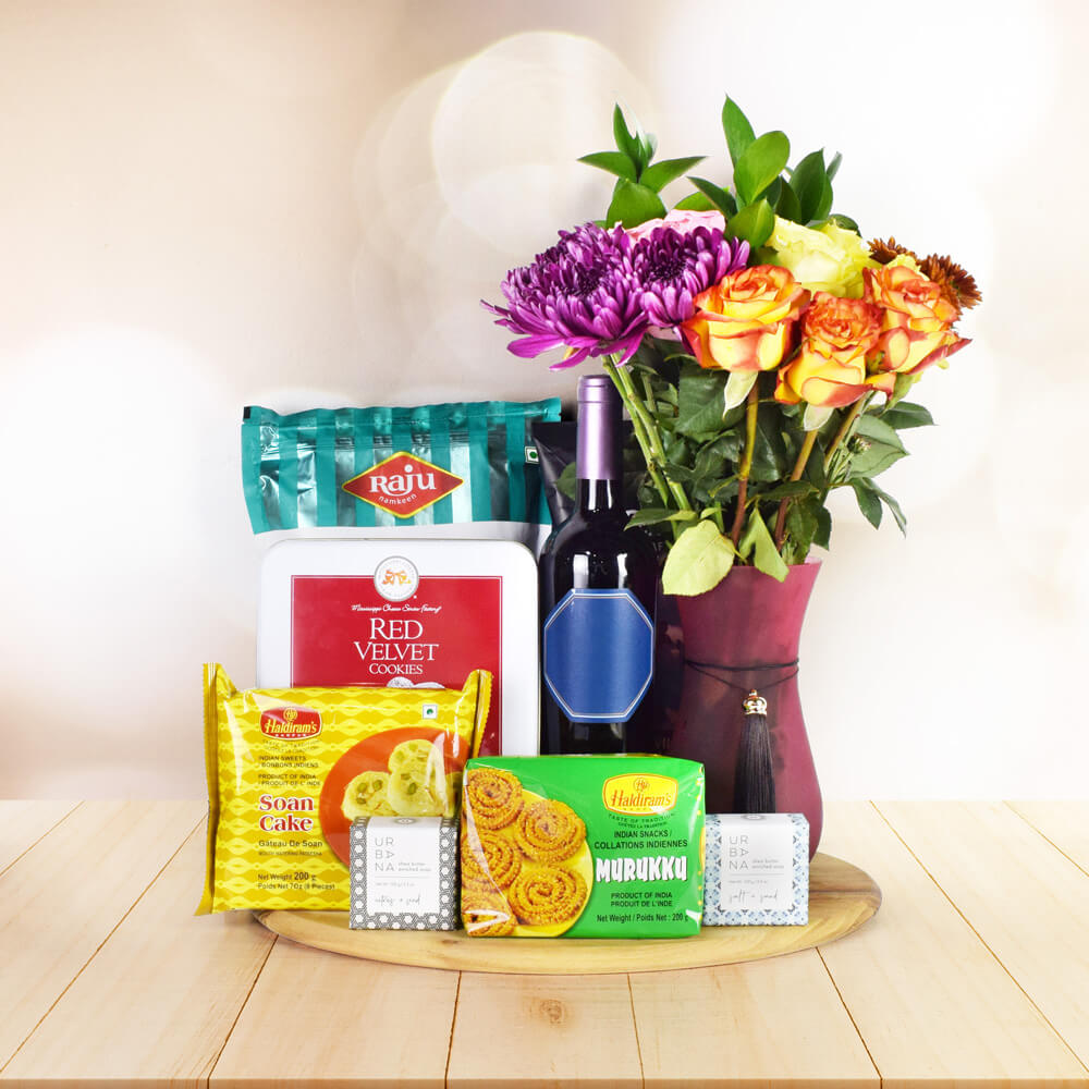 MOUTHWATERING DIWALI GIFT BASKET WITH WINE, Diwali gift basket, Diwali hampers, gourmet gift baskets, corporate Diwali gifts