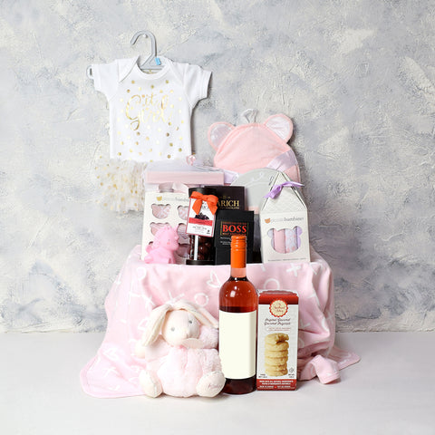 Lavish Baby Girl Gift Basket, baby gift baskets, wine gift baskets