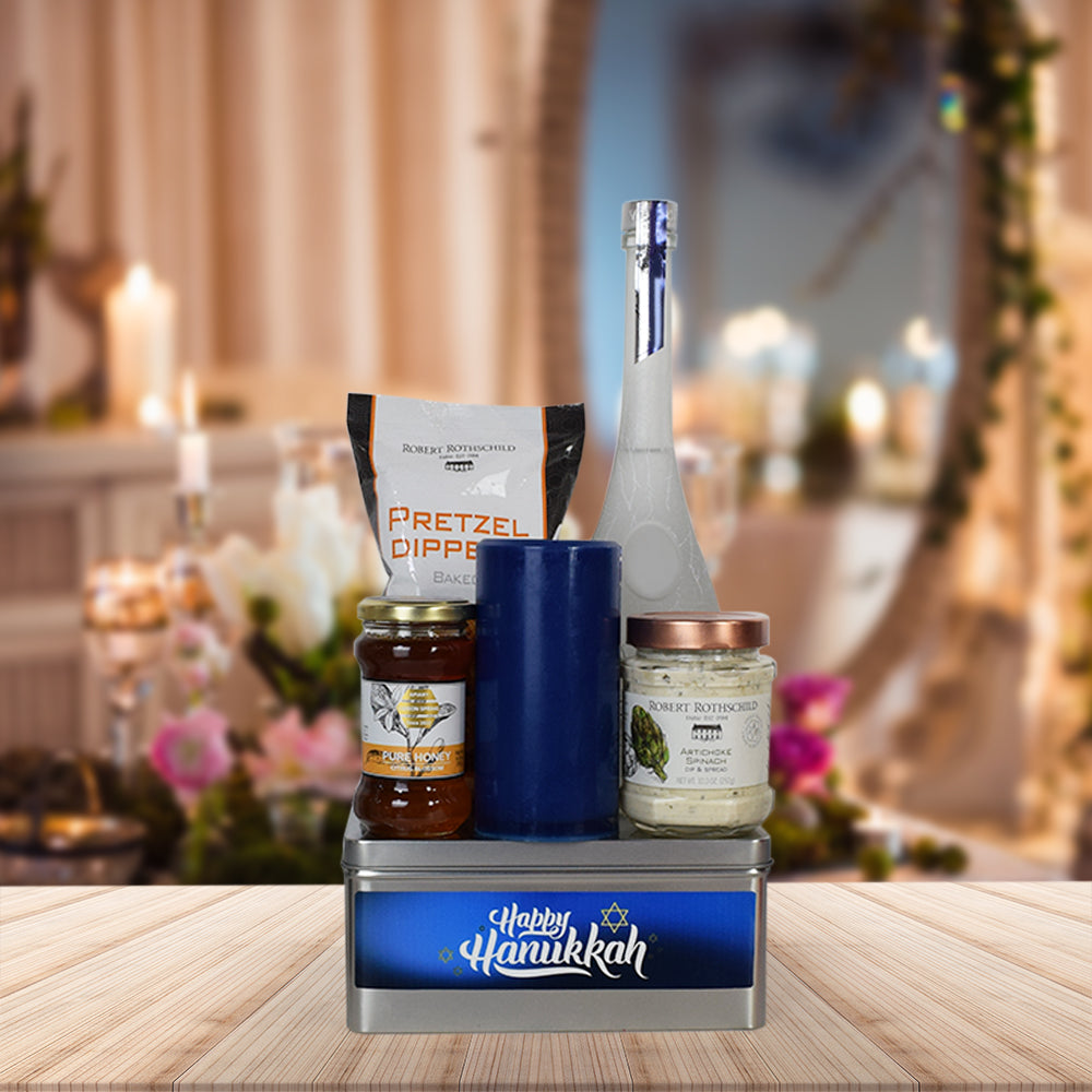 Happy Hanukkah Liquor Gift Basket, liquor gift baskets, gourmet gift baskets