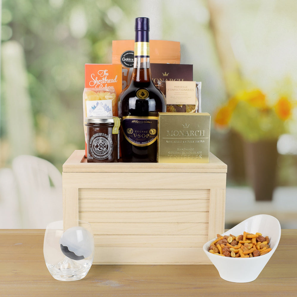 Chocolate & Cookies Liquor Gift Crate, liquor gift baskets, gourmet gift baskets, gift baskets