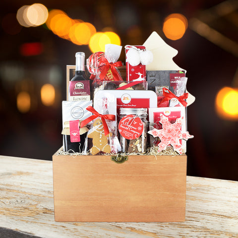 Cozy Christmas Wine Gift Basket