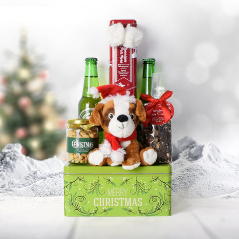 Merry Christmas Beer & Treats Basket, beer gift baskets, Christmas gift baskets