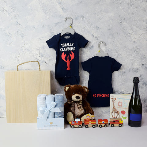 Baby Boy Fun Crate, baby gift baskets, baby boy, baby gift, new parent, baby, champagne