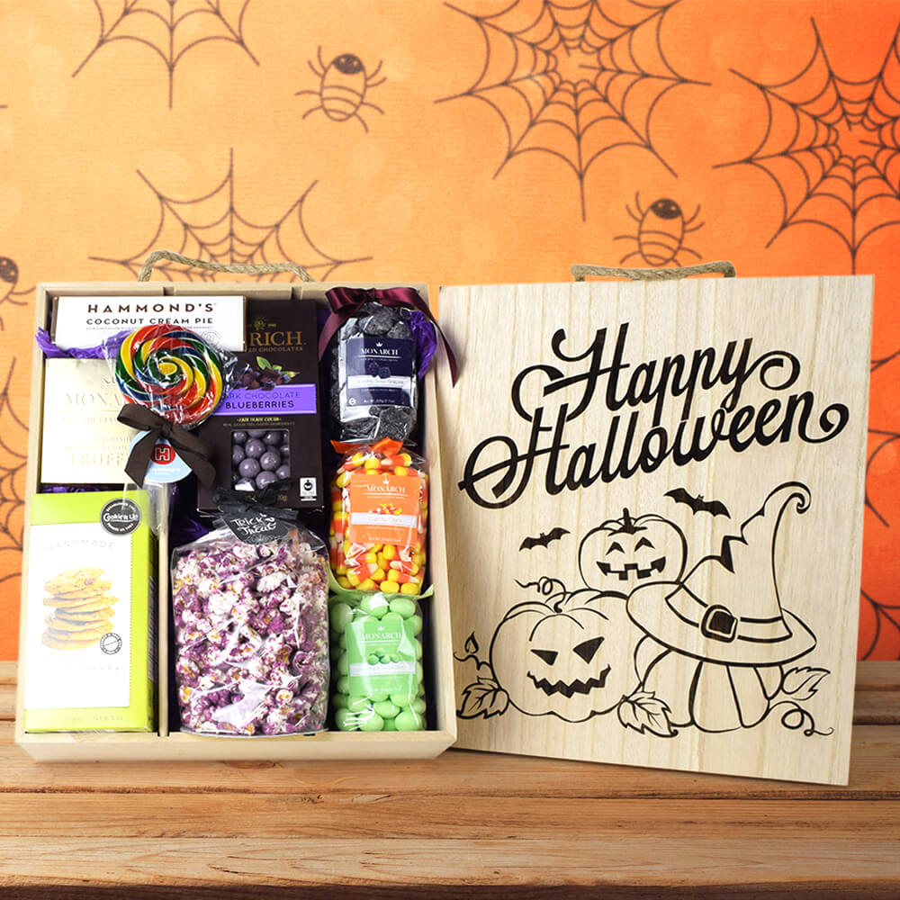 Happy Halloween Sweets Crate, Halloween Snack crate, Halloween gift baskets, Deluxe Halloween Party Crate