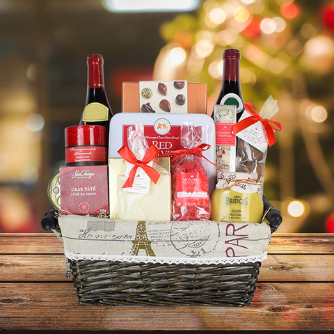 A Christmas In France Gift Basket, Christmas gift baskets, wine gift baskets