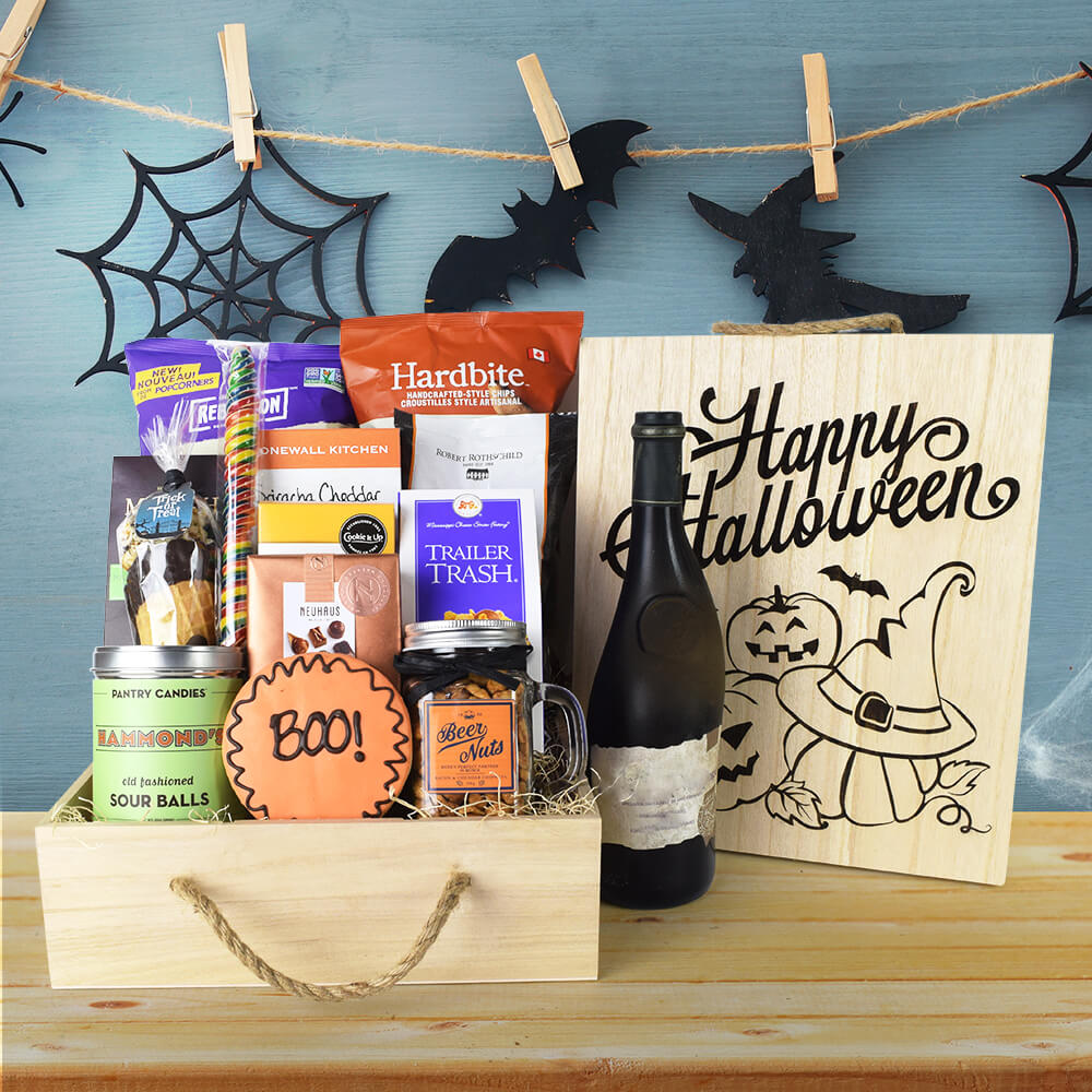 """Boo!"" Halloween Gift Crate With Wine, Wine Gifts, Gifts With Wine, Halloween Gifts"