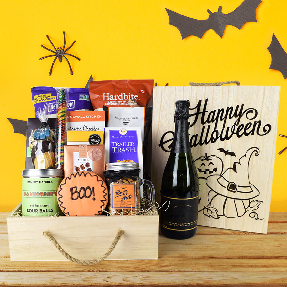 """Boo!"" Halloween Gift Crate With Champagne, Halloween Gifts, Champagne Gifts, Gift Crates, Gift Basket Delivery"