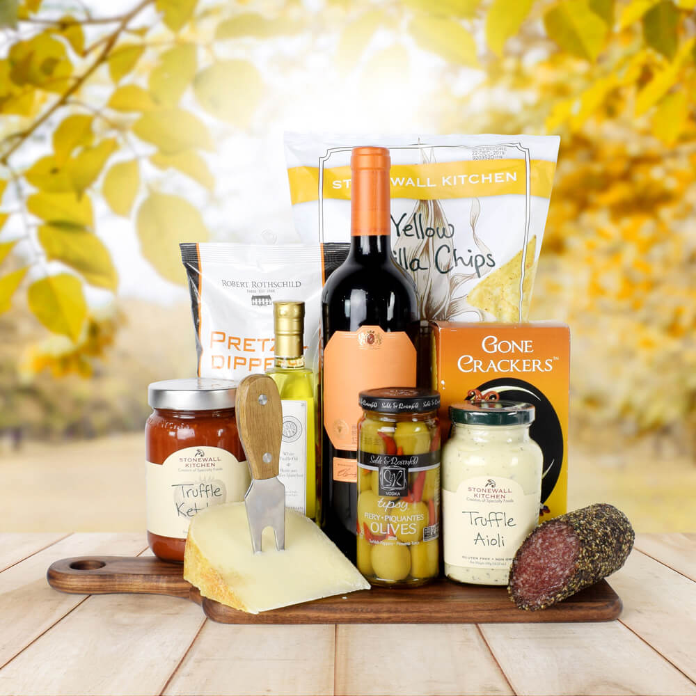 The Thanksgiving Wine & Snacks Platter, Wine Gifts, Thanksgiving Gifts, Wine & Snacks Gifts