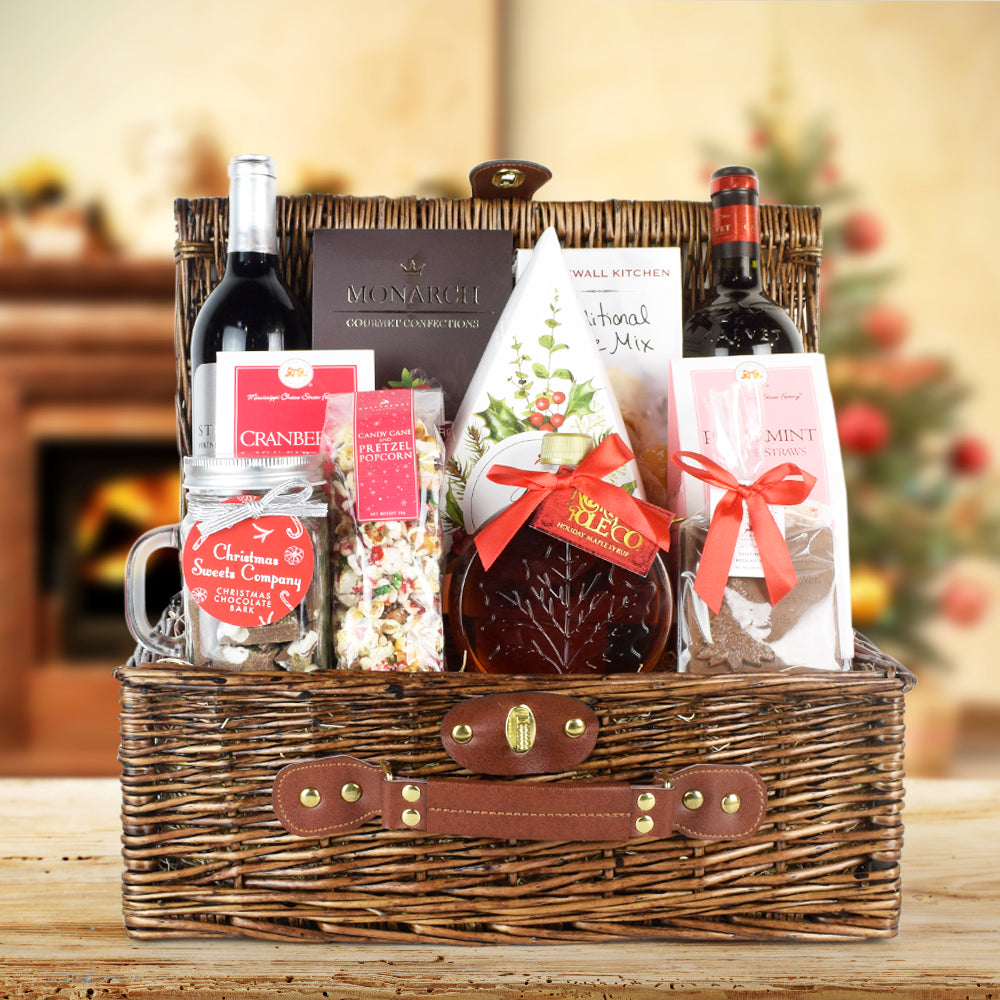 Peppermint Pretzels & Wine Gift Basket, wine gift baskets, Christmas gift baskets