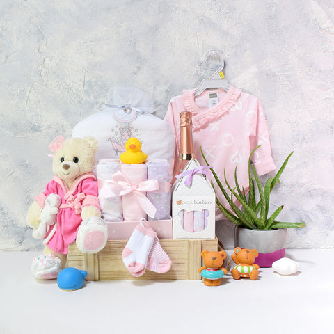 Bubbly Baby Girl Bath Time Gift Basket